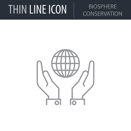 Symbol of Biosphere Conservation. Thin line Icon of Power And Energy. Stroke Pictogram Graphic for Web Design. Quality Outline Vector Symbol Concept. Premium Mono Linear Beautiful Plain Laconic Logo