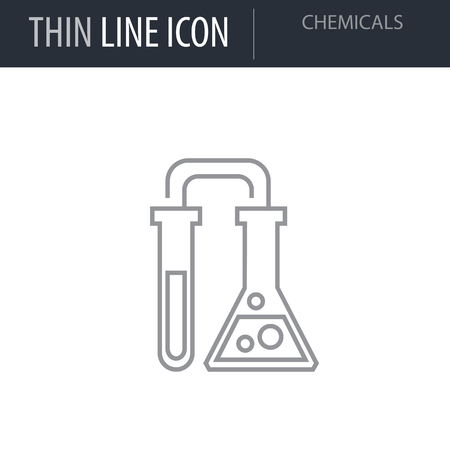 Symbol of Chemicals. Thin line Icon of Power And Energy. Stroke Pictogram Graphic for Web Design. Quality Outline Vector Symbol Concept. Premium Mono Linear Beautiful Plain Laconic Logo