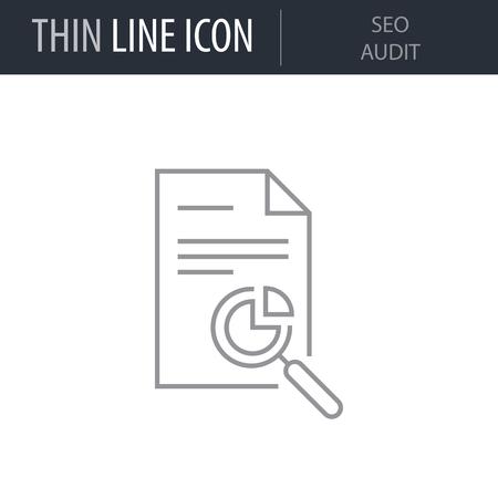 Symbol of Seo Audit. Thin line Icon of Seo And Web Optimization. Stroke Pictogram Graphic for Web Design. Quality Outline Vector Symbol Concept. Premium Mono Linear Beautiful Plain Laconic Logo