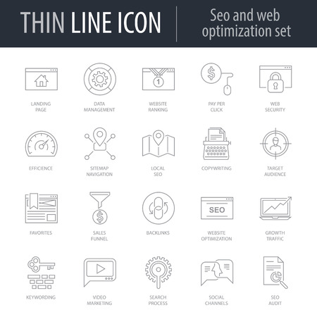 Icons Set of Seo And Web Optimization. Symbol of Intelligent Thin Line Image Pack. Stroke Pictogram Graphic for Web Design. Quality Outline Vector Symbol Concept Collection. Premium Mono Linear