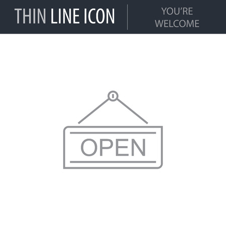 Symbol of Youre Welcome. Thin line Icon of Shopping And Retail. Stroke Pictogram Graphic for Web Design. Quality Outline Vector Symbol Concept. Premium Mono Linear Beautiful Plain Laconic Logo Standard-Bild - 124563438