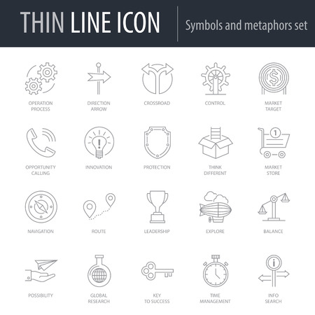 Icons Set of Symbols And Metaphors. Symbol of Intelligent Thin Line Image Pack. Stroke Pictogram Graphic for Web Design. Quality Outline Vector Symbol Concept Collection. Premium Mono Linear