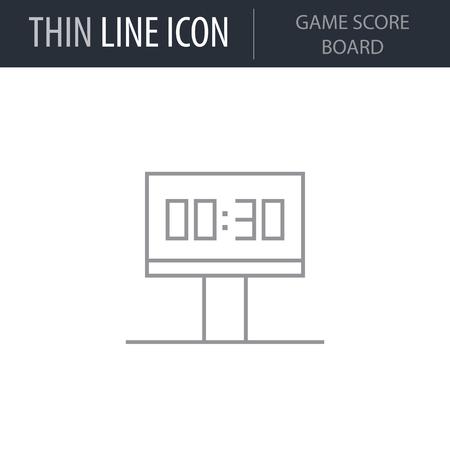 Symbol of Game Score Board. Thin line Icon of Sport Attributes. Stroke Pictogram Graphic for Web Design. Quality Outline Vector Symbol Concept. Premium Mono Linear Beautiful Plain Laconic Logo