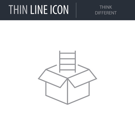 Symbol of Think Different. Thin line Icon of Symbols And Metaphors. Stroke Pictogram Graphic for Web Design. Quality Outline Vector Symbol Concept. Premium Mono Linear Beautiful Plain Laconic Logo Иллюстрация