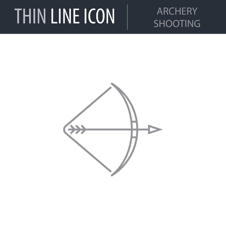 Symbol of Archery Shooting. Thin line Icon of Sport Attributes. Stroke Pictogram Graphic for Web Design. Quality Outline Vector Symbol Concept. Premium Mono Linear Beautiful Plain Laconic Logo