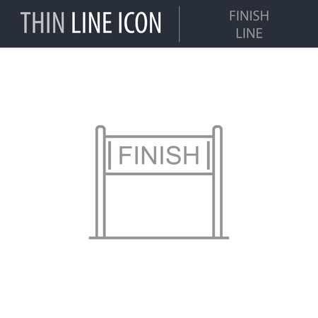 Symbol of Finish Line. Thin line Icon of Sport Attributes. Stroke Pictogram Graphic for Web Design. Quality Outline Vector Symbol Concept. Premium Mono Linear Beautiful Plain Laconic Logo
