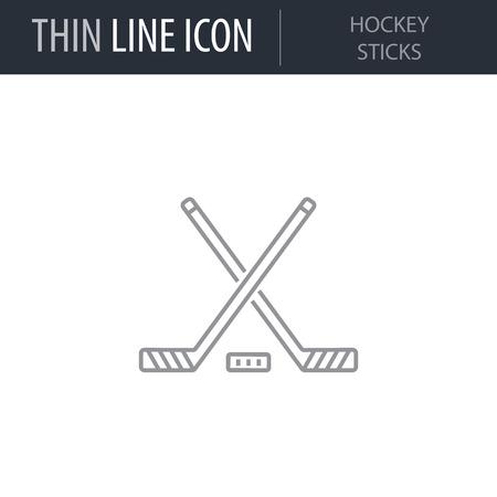 Symbol of Hockey Sticks. Thin line Icon of Sport Attributes. Stroke Pictogram Graphic for Web Design. Quality Outline Vector Symbol Concept. Premium Mono Linear Beautiful Plain Laconic Logo