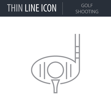 Symbol of Golf Shooting. Thin line Icon of Sport Attributes. Stroke Pictogram Graphic for Web Design. Quality Outline Vector Symbol Concept. Premium Mono Linear Beautiful Plain Laconic Logo