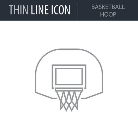 Symbol of Basketball Hoop. Thin line Icon of Sport Equipment. Stroke Pictogram Graphic for Web Design. Quality Outline Vector Symbol Concept. Premium Mono Linear Beautiful Plain Laconic Logo Illustration
