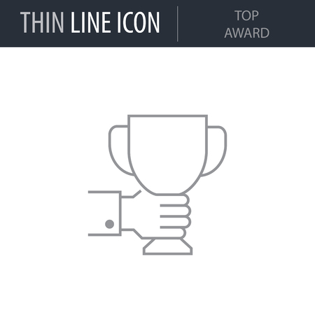 Symbol of Top Award. Thin line Icon of Icons Of Startup And Development. Stroke Pictogram Graphic for Web Design. Quality Outline Vector Symbol Concept. Premium Mono Linear Beautiful Plain Laconic