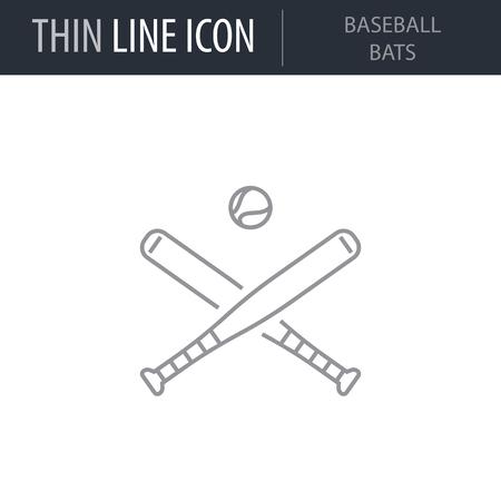 Symbol of Baseball Bats. Thin line Icon of Sport Equipment. Stroke Pictogram Graphic for Web Design. Quality Outline Vector Symbol Concept. Premium Mono Linear Beautiful Plain Laconic Logo Banque d'images - 124599934