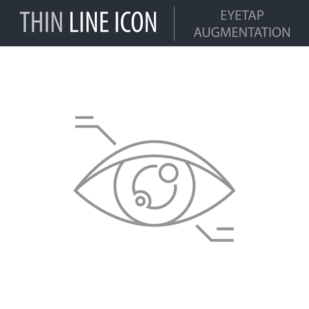 Symbol of Eyetap Augmentation Thin line Icon of Future Technology. Stroke Pictogram Graphic for Web Design. Quality Outline Vector Symbol Concept. Premium Mono Linear Beautiful Plain Laconic Logo.