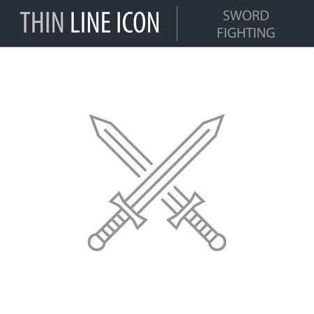 Symbol of Sword Fighting Thin line Icon of Video Game Elements. Stroke Pictogram Graphic for Web Design. Quality Outline Vector Symbol Concept. Premium Mono Linear Beautiful Plain Laconic Logo. Illustration