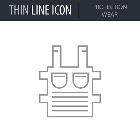 Symbol of Protection Wear Thin line Icon of Video Game Elements. Stroke Pictogram Graphic for Web Design. Quality Outline Vector Symbol Concept. Premium Mono Linear Beautiful Plain Laconic Logo.