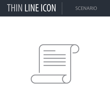 Symbol of Scenario Thin line Icon of Video Game Elements. Stroke Pictogram Graphic for Web Design. Quality Outline Vector Symbol Concept. Premium Mono Linear Beautiful Plain Laconic Logo.