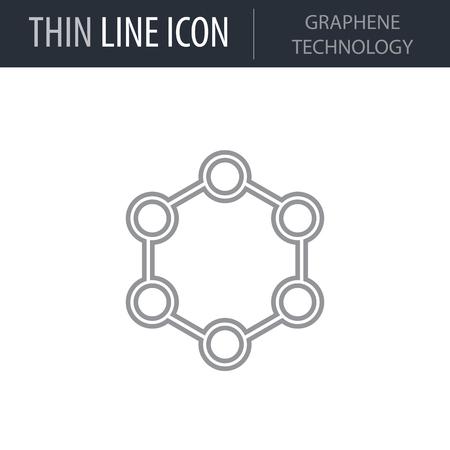 Symbol of Graphene Technology Thin line Icon of Future Technology. Stroke Pictogram Graphic for Web Design. Quality Outline Vector Symbol Concept. Premium Mono Linear Beautiful Plain Laconic Logo. Ilustracja