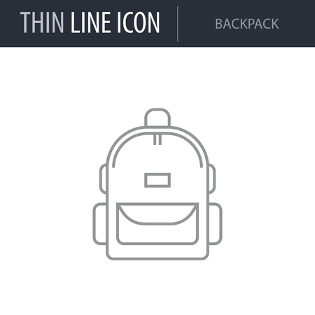 Symbol of Modern Backpack. Thin line Icon of Bags. Stroke Pictogram Graphic for Web Design. Quality Outline Vector Symbol Concept. Premium Mono Linear Beautiful Plain Laconic Logo