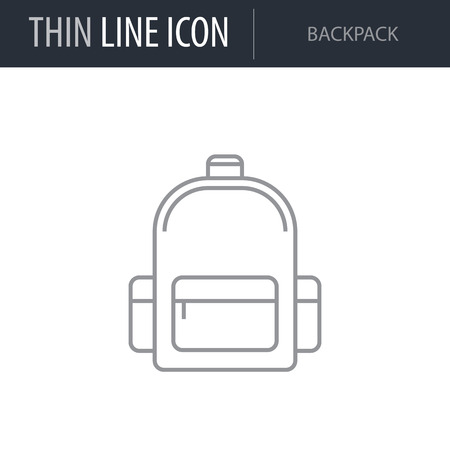Symbol of Backpack. Thin line Icon of Bags. Stroke Pictogram Graphic for Web Design. Quality Outline Vector Symbol Concept. Premium Mono Linear Beautiful Plain Laconic Logo