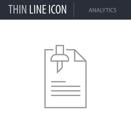 Symbol of Analytics. Thin line Icon of Business. Stroke Pictogram Graphic for Web Design. Quality Outline Vector Symbol Concept. Premium Mono Linear Beautiful Plain Laconic Logo Иллюстрация