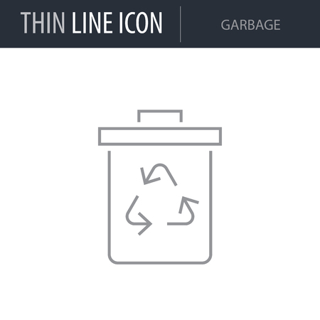 Symbol of Garbage. Thin line Icon of Business. Stroke Pictogram Graphic for Web Design. Quality Outline Vector Symbol Concept. Premium Mono Linear Beautiful Plain Laconic Logo Illustration