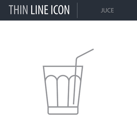 Symbol of Juce. Thin line Icon of Beverage. Stroke Pictogram Graphic for Web Design. Quality Outline Vector Symbol Concept. Premium Mono Linear Beautiful Plain Laconic Logo