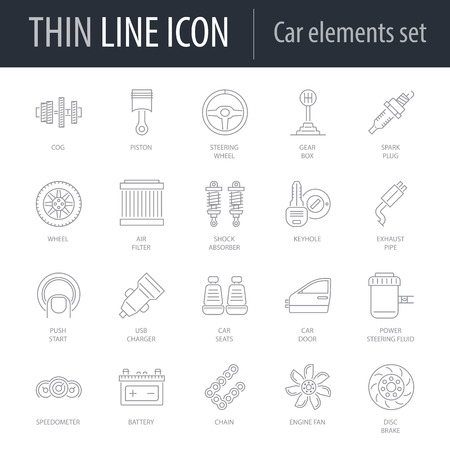 Icons Set of Car Elements. Symbol of Intelligent Thin Line Image Pack. Stroke Pictogram Graphic for Web Design. Quality Outline Vector Symbol Concept Collection. Premium Mono Linear