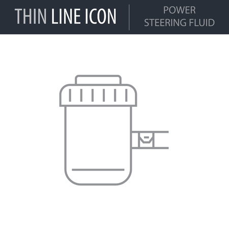 Symbol of Power Steering Fluid. Thin line Icon of Car elements. Stroke Pictogram Graphic for Web Design. Quality Outline Vector Symbol Concept. Premium Mono Linear Beautiful Plain Laconic Logo