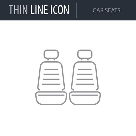Symbol of Car Seats. Thin line Icon of Car elements. Stroke Pictogram Graphic for Web Design. Quality Outline Vector Symbol Concept. Premium Mono Linear Beautiful Plain Laconic Logo