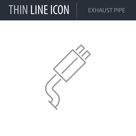 Symbol of Exhaust Pipe. Thin line Icon of Car elements. Stroke Pictogram Graphic for Web Design. Quality Outline Vector Symbol Concept. Premium Mono Linear Beautiful Plain Laconic Logo