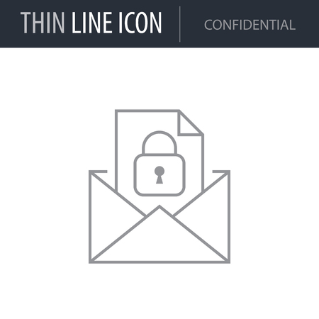 Symbol of Confidential. Thin line Icon of Business. Stroke Pictogram Graphic for Web Design. Quality Outline Vector Symbol Concept. Premium Mono Linear Beautiful Plain Laconic Logo