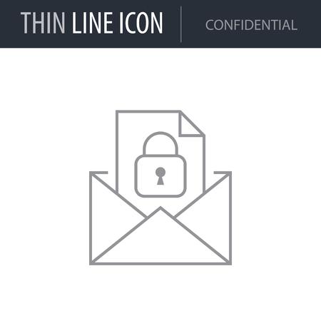 Symbol of Confidential. Thin line Icon of Business. Stroke Pictogram Graphic for Web Design. Quality Outline Vector Symbol Concept. Premium Mono Linear Beautiful Plain Laconic Logo