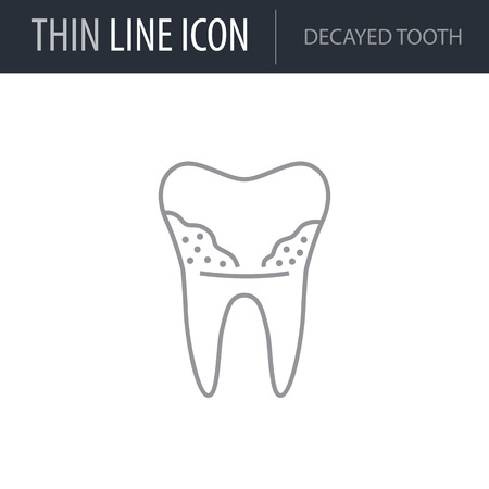 Symbol of Decayed Tooth. Thin line Icon of Dentist Tools. Stroke Pictogram Graphic for Web Design. Quality Outline Vector Symbol Concept. Premium Mono Linear Beautiful Plain Laconic Logo
