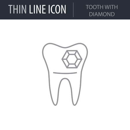 Symbol of Tooth With Diamond. Thin line Icon of Dentist Tools. Stroke Pictogram Graphic for Web Design. Quality Outline Vector Symbol Concept. Premium Mono Linear Beautiful Plain Laconic Logo Illustration