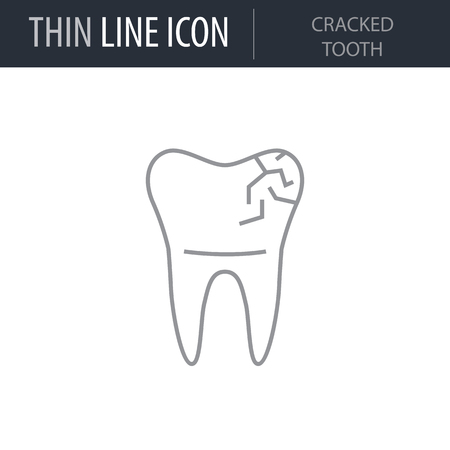 Symbol of Cracked Tooth. Thin line Icon of Dentist Tools. Stroke Pictogram Graphic for Web Design. Quality Outline Vector Symbol Concept. Premium Mono Linear Beautiful Plain Laconic Logo