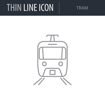 Symbol of Tram. Thin line Icon of City elements. Stroke Pictogram Graphic for Web Design. Quality Outline Vector Symbol Concept. Premium Mono Linear Beautiful Plain Laconic
