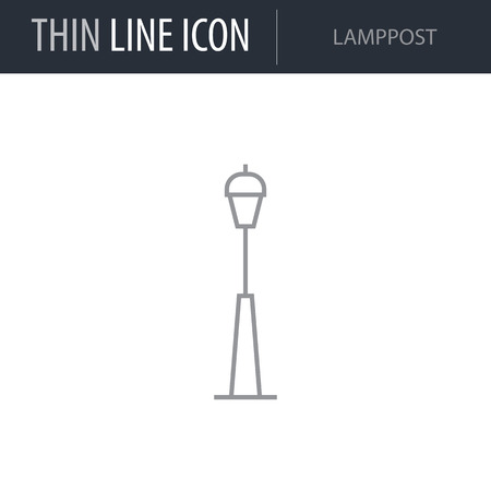 Symbol of Lamppost. Thin line Icon of City elements. Stroke Pictogram Graphic for Web Design. Quality Outline Vector Symbol Concept. Premium Mono Linear Beautiful Plain Laconic Logo