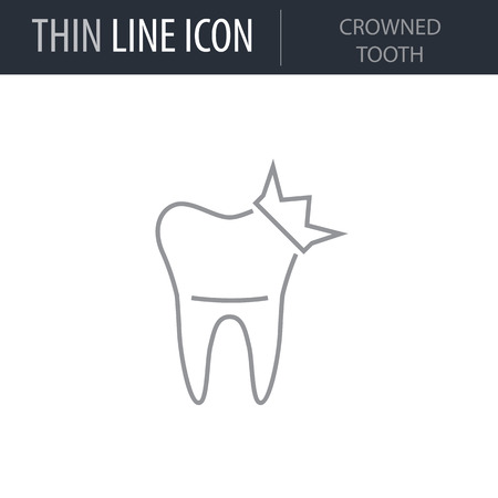 Symbol of Crowned Tooth. Thin line Icon of Dentist Tools. Stroke Pictogram Graphic for Web Design. Quality Outline Vector Symbol Concept. Premium Mono Linear Beautiful Plain Laconic Logo