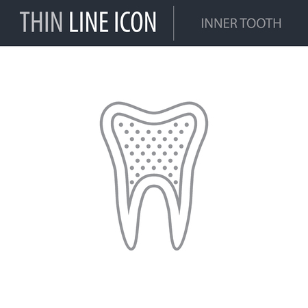 Symbol of Inner Tooth. Thin line Icon of Dentist Tools. Stroke Pictogram Graphic for Web Design. Quality Outline Vector Symbol Concept. Premium Mono Linear Beautiful Plain Laconic Logo Illustration