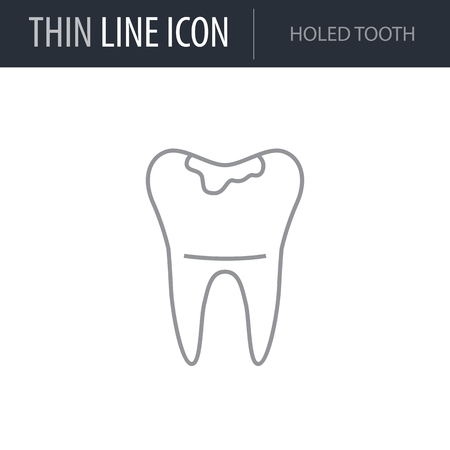 Symbol of Holed Tooth. Thin line Icon of Dentist Tools. Stroke Pictogram Graphic for Web Design. Quality Outline Vector Symbol Concept. Premium Mono Linear Beautiful Plain Laconic Logo Stock Vector - 124600387