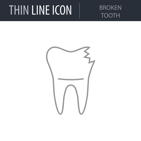 Symbol of Broken Tooth. Thin line Icon of Dentist Tools. Stroke Pictogram Graphic for Web Design. Quality Outline Vector Symbol Concept. Premium Mono Linear Beautiful Plain Laconic Logo Illustration