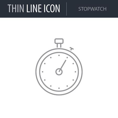 Symbol of Stopwatch. Thin line Icon of Diet. Stroke Pictogram Graphic for Web Design. Quality Outline Vector Symbol Concept. Premium Mono Linear Beautiful Plain Laconic Logo