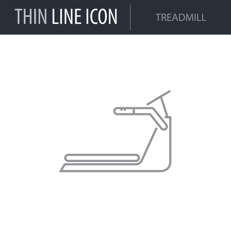 Symbol of Treadmill. Thin line Icon of Diet. Stroke Pictogram Graphic for Web Design. Quality Outline Vector Symbol Concept. Premium Mono Linear Beautiful Plain Laconic Logo