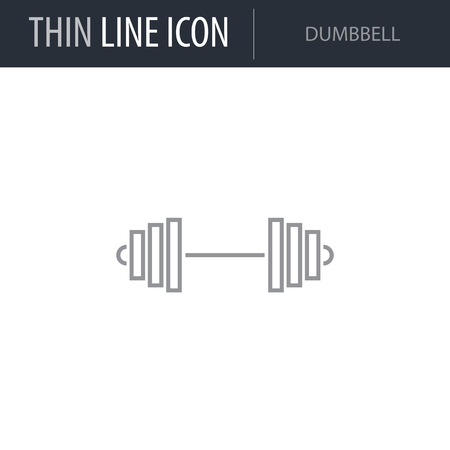 Symbol of Dumbbell. Thin line Icon of Diet. Stroke Pictogram Graphic for Web Design. Quality Outline Vector Symbol Concept. Premium Mono Linear Beautiful Plain Laconic Logo