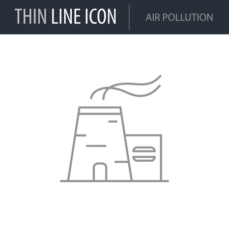 Symbol of Air Pollution. Thin line Icon of Ecology Elements. Stroke Pictogram Graphic for Web Design. Quality Outline Vector Symbol Concept. Premium Mono Linear Beautiful Plain Laconic Logo