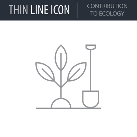 Symbol of Contribution To Ecology. Thin line Icon of Ecology Elements. Stroke Pictogram Graphic for Web Design. Quality Outline Vector Symbol Concept. Premium Mono Linear Beautiful Plain Laconic Ilustrace