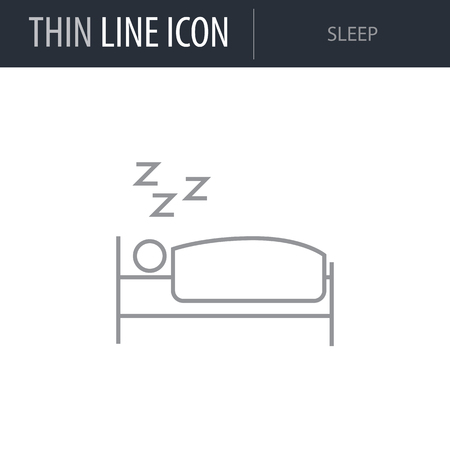 Symbol of Sleep. Thin line Icon of Diet. Stroke Pictogram Graphic for Web Design. Quality Outline Vector Symbol Concept. Premium Mono Linear Beautiful Plain Laconic Logo Illustration