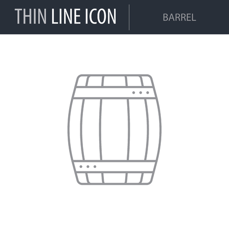 Symbol of Barrel. Thin line Icon of Farming. Stroke Pictogram Graphic for Web Design. Quality Outline Vector Symbol Concept. Premium Mono Linear Beautiful Plain Laconic Logo