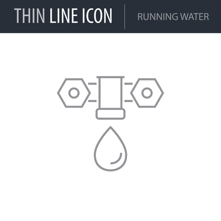 Symbol of Running Water. Thin line Icon of Ecology Elements. Stroke Pictogram Graphic for Web Design. Quality Outline Vector Symbol Concept. Premium Mono Linear Beautiful Plain Laconic Logo