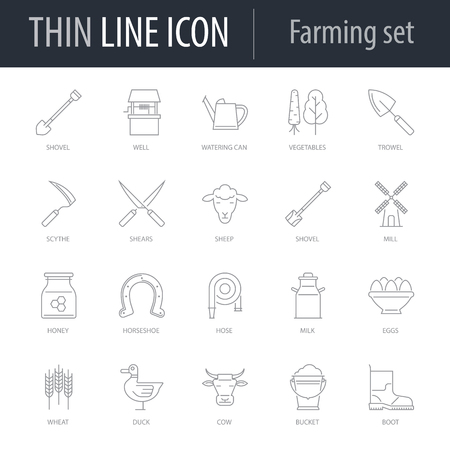 Icons Set of Farming. Symbol of Intelligent Thin Line Image Pack. Stroke Pictogram Graphic for Web Design. Quality Outline Vector Symbol Concept Collection. Premium Mono Linear