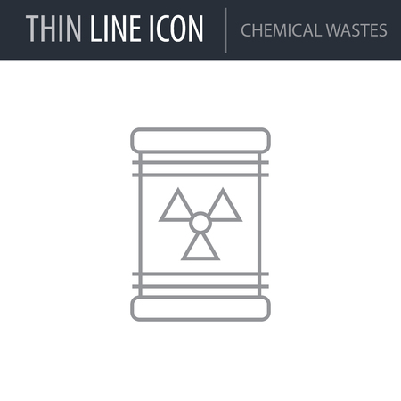 Symbol of Chemical Wastes. Thin line Icon of Ecology Elements. Stroke Pictogram Graphic for Web Design. Quality Outline Vector Symbol Concept. Premium Mono Linear Beautiful Plain Laconic Logo Reklamní fotografie - 124643600
